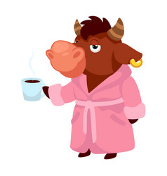 sleepy bull in pink robe drinking coffee or tea vector image