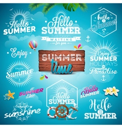 Summer Typography set with signs and symbols vector image
