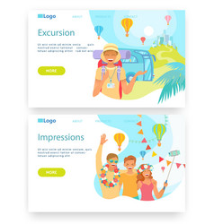 summer vacation and travel happy tourists take vector image