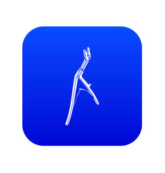 Surgical pincers icon blue vector