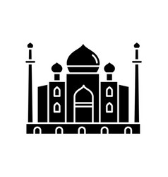 Taj mahal black glyph icon vector