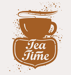 tea cup with lettering vector image