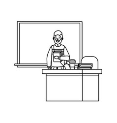 teacher having a class black and white vector image