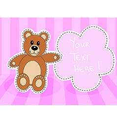 Teddy bearwith blank sign in pink room vector image