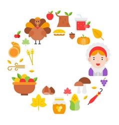Thanksgiving icon arrange as circle frame shape vector