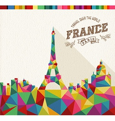Travel France polygonal skyline vector