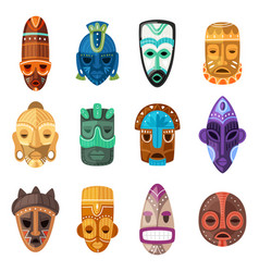 Tribal mask cartoon african face masque and vector