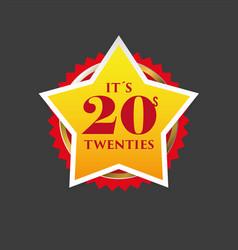 Twenties sign gold star badge vector