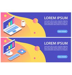 Two blue banners with laptop and computer vector