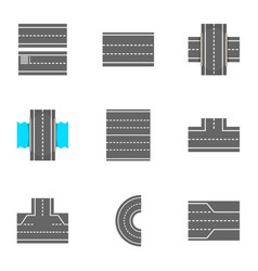 types of roads icons set cartoon style vector image