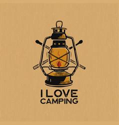 Vintage camp lantern patch logo i love camping vector