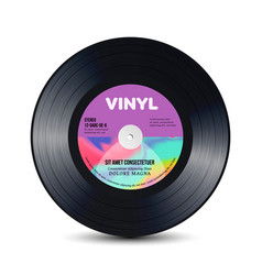 Vinyl disc with shiny grooves old retro records vector