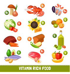 Vitamin rich food products vector