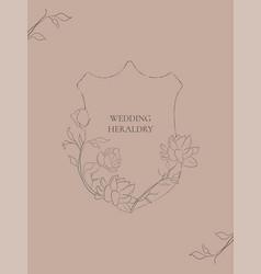 wedding heraldry with jasmine flowers vector image