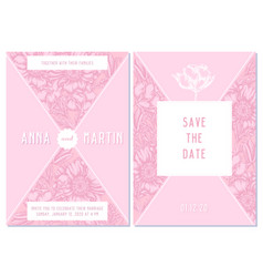 wedding invitation card with pink poppy flower vector image