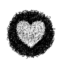 White heart in black circle vector