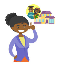 Woman planning her purchase of a family house vector
