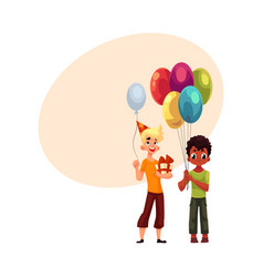 black little boy with balloons caucasian teenager vector image