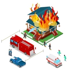 Firefighters Extinguish Fire in House Isometric vector image