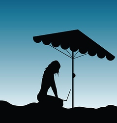 Girl silhouette in nature with laptop vector