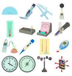 measure tools icons set cartoon style vector image