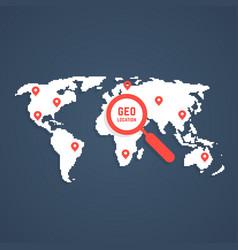 geo location with pixel art world map vector image vector image