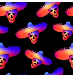 Seamless background with skull in sombrero vector image vector image