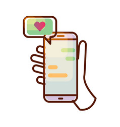 smartphone icon with love message in hand vector image