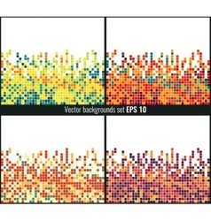 abstract square pixel mosaic background set vector image
