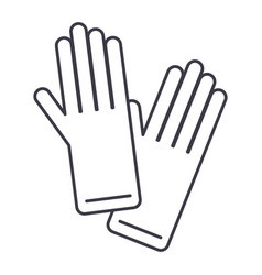 gloves line icon sign on vector image vector image