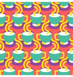 Seamless coffee cup pattern vector image