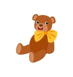 Teddy Bear With Yellow Bow Kids Birthday Party vector image vector image