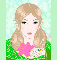 a beautiful spring fairy in green vector image vector image