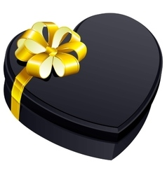 Black gift close box heart shape vector image vector image