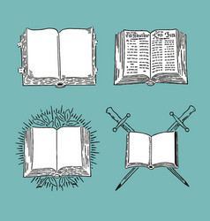 retro book set engraving old style vector image
