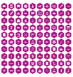 100 combat vehicles icons hexagon violet vector