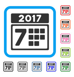 2017 year 7th day framed icon vector