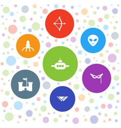 7 fantasy icons vector