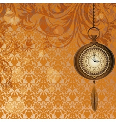 Abstract wallpaper with bronze pocket watch vector image