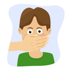 Adult man hand covering mouth of boy vector