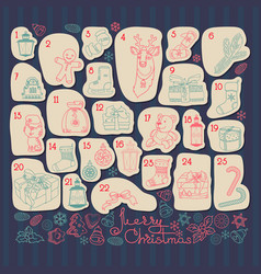 Advent calendar set of outline christmas icons vector