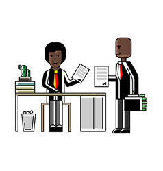 african businessmen contract conclusion in office vector image