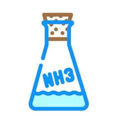 Ammonia chemical flask color icon vector