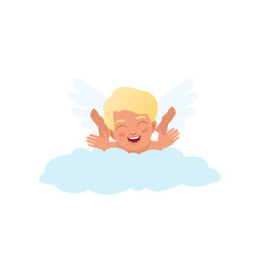 Baby cupid character playfully lying on a cloud vector