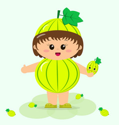 baby in the suit of green gooseberry vector image