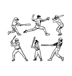Baseball player black white set collection pack vector