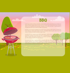 Bbq poster with text nature vector