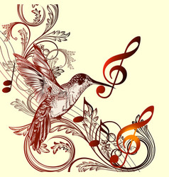 beautiful music background with hummingbird vector image