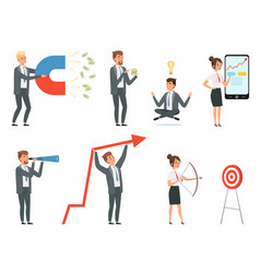 business people managers male and female with vector image