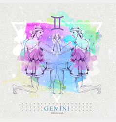 Card with astrology gemini zodiac sign vector